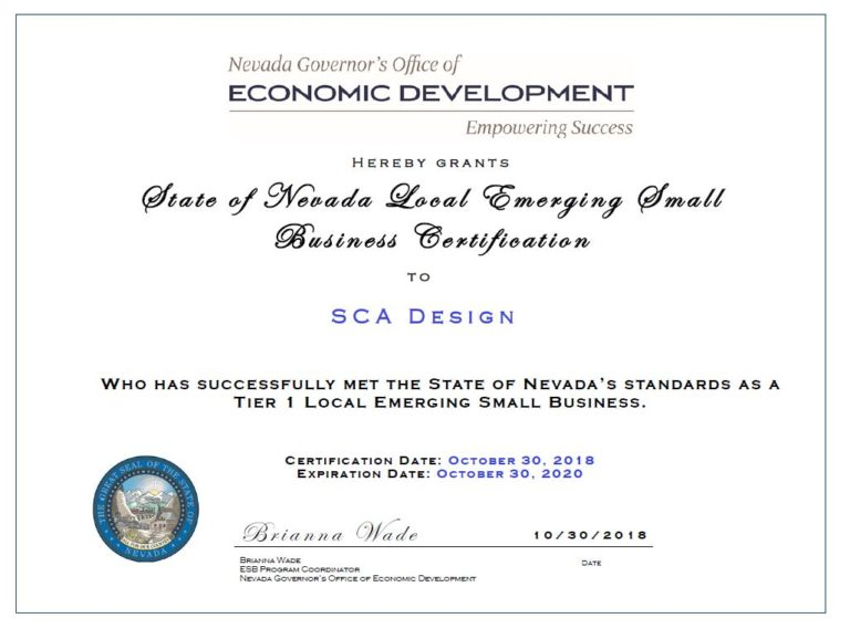 SCA Design certified as Emerging Small Business