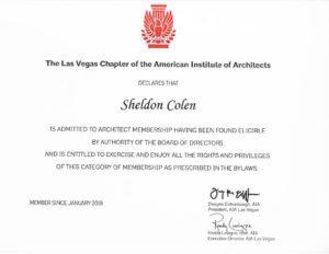 AIA certificate- Sheldon Colen Las Vegas Architect