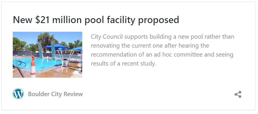 Boulder City Community Pool- Proposed Facility